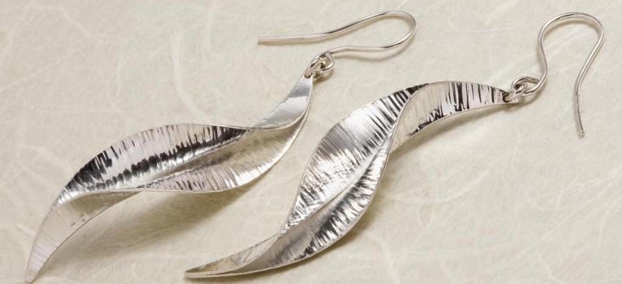 Ruffle silver drop earrings