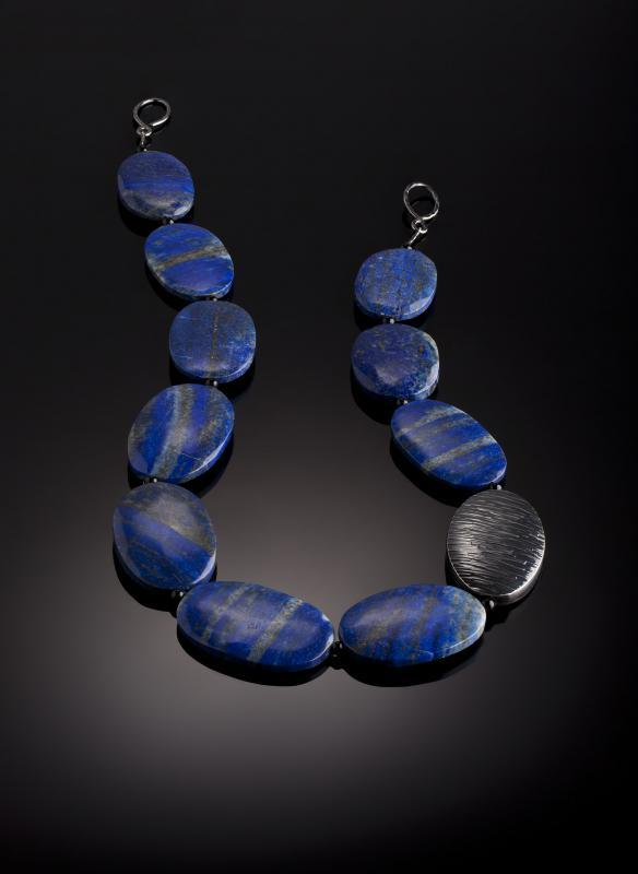 Evening Sea necklace, lapis lazuli and oxidised silver