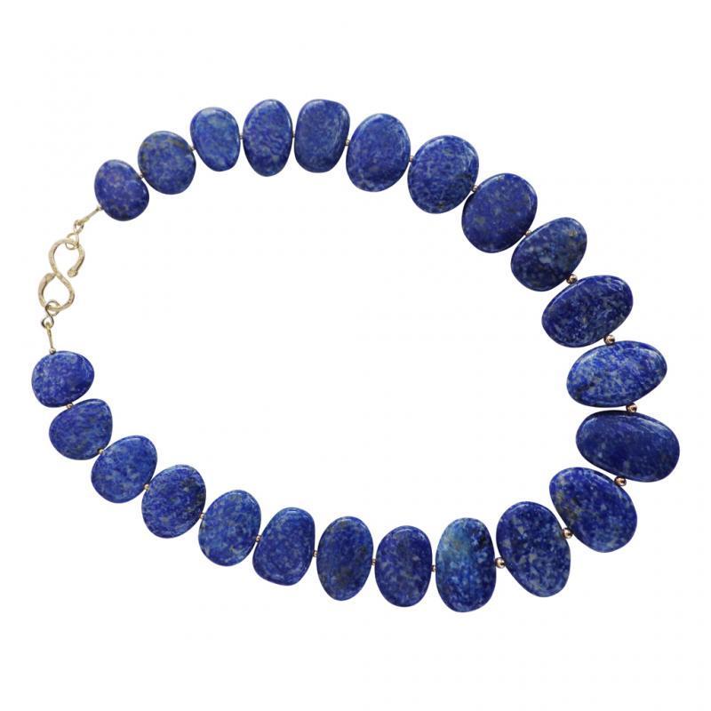 Lapis lazuli and 9 carat gold necklace