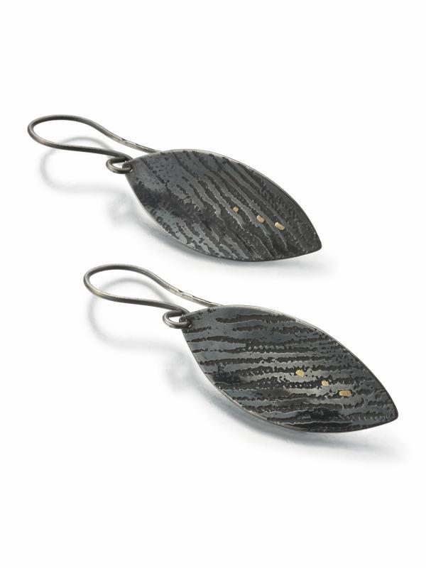 Night Reflections, oxidised silver drop earrings with 18k gold
