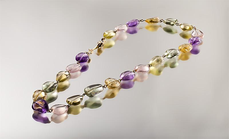 Rainbow Spindrift, 9k gold linked necklace with amethysts, citrines etc