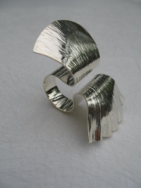 Ruffle silver open ring