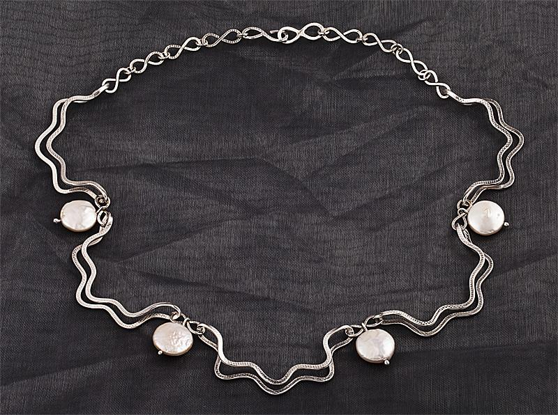Silver Ruff, silver and coin pearl necklace