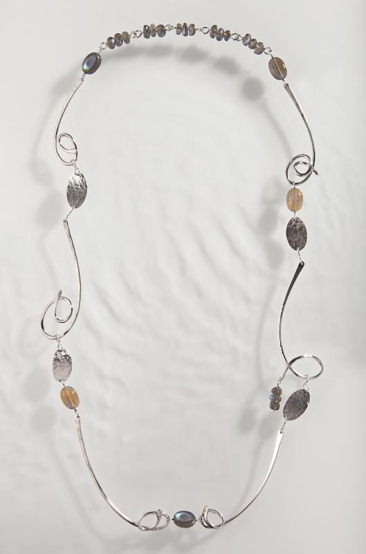 Spindrift Chain, silver with labradorite